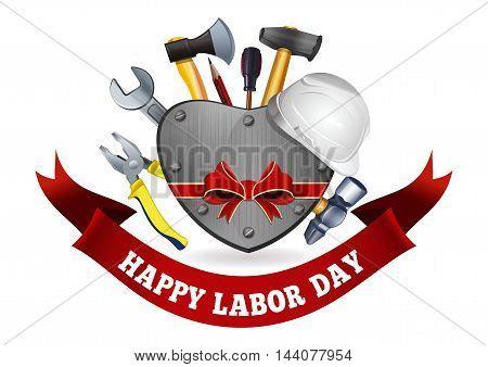 Labor Day design. Iron heart tools and inscription - Happy Labor Day. Vector illustration