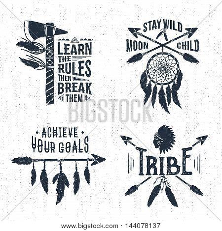 Hand drawn tribal labels set with tomahawk dream catcher arrows and feathers vector illustrations and inspirational lettering.