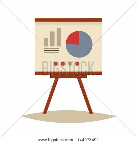 Presentation board with pie chart and infographic elements, sketch style illustration isolated on white background. Flip chart with pie graph, brainstorm, business presentation