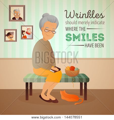 Vector illustration of an old woman sitting in the room on the sofa with her cat and knitting tools. Grandmother card with quote about age.