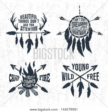 Hand drawn tribal labels set with bonfire arrows dream catcher and feathers vector illustrations and inspirational lettering.