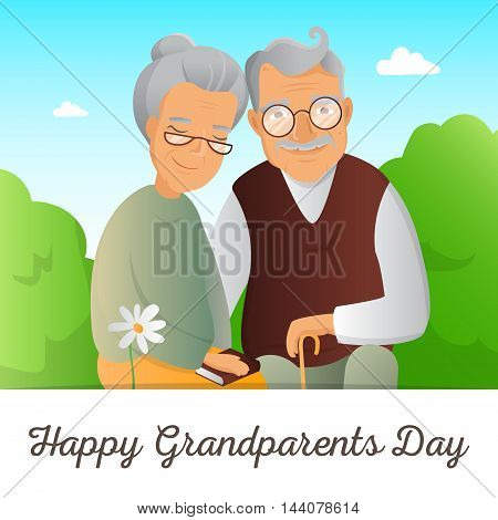 Grandparents Day vector concept. Illustration with grandfather and grandmother. Cute old couple greeting card.