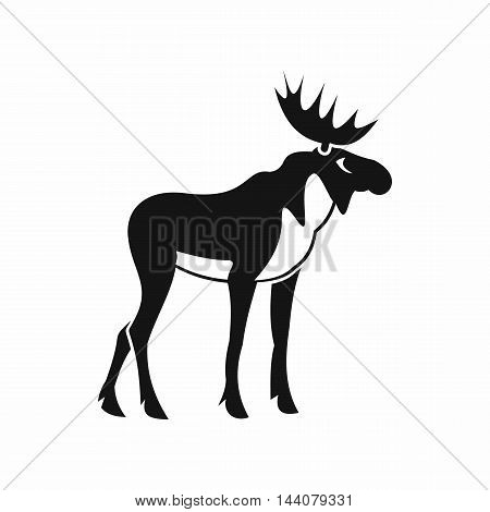Moose icon in simple style isolated on white background. Animal symbol
