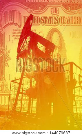 Oil And Gas Industry. Work Of Oil Pump Jack On A Oil Field. Whit