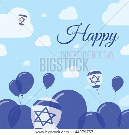 Israel Independence Day Flat Patriotic Design. Israeli Flag Balloons. Happy National Day Vector Card