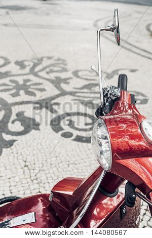 Motorcycle in the streets of Lisbon Portugal