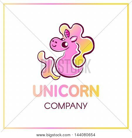 Cute chubby smiling cartoon pink unicorn with yellow to pink gradient fluffy curly tail and mane sitting on his butt and looking behind the shoulder isolated on white background company logotype.vector