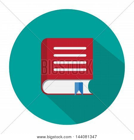 Red book with bookmark icon with long shadow. vector illustration in flat style on green background