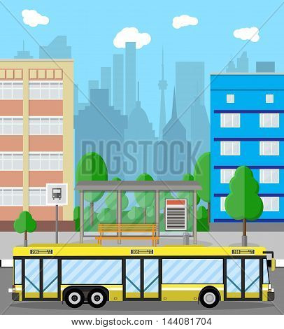 Bus stop with city background. road, trees, bus stop and bus, sign and trash bin, sky with clouds. Vector illustration in flat design