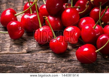 Fresh Cherry On Wooden Table Healthy Food
