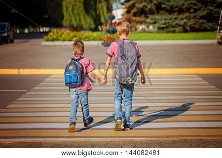 Two brothers with backpack walking holding on warm day on the road. Back view.