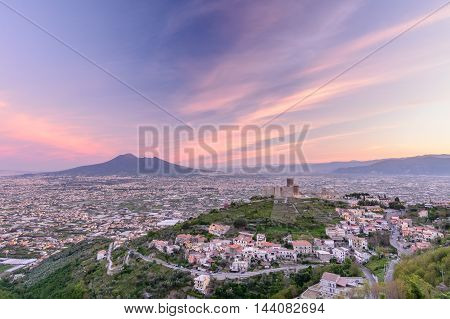Naples (Napoli) Italy - June 10: Panorama of Naples and Mount Vesuvius June 10 2016 in Naples Italy. View of Mount Vesuvius an active volcano in Naples.