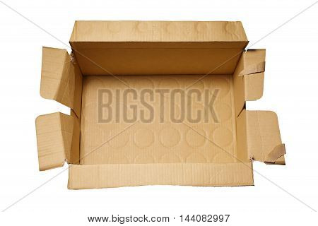 Top view of old used carton box isolated on white background