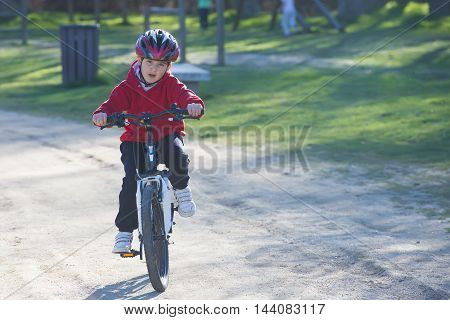 Child Riding His Mountain Bike
