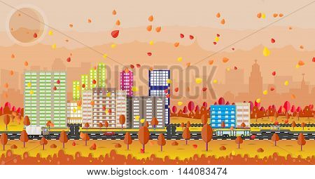 Beautiful autumn city with park alley, office and residental buildings, roads, trees. car. truck. bus, falling leaves. sky and sun. vector illustration