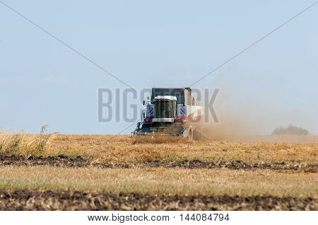 07082014 Russian Tatarstan. peas combine. Harvester combine pouring peas in the tractor trailer on sunny summer day.