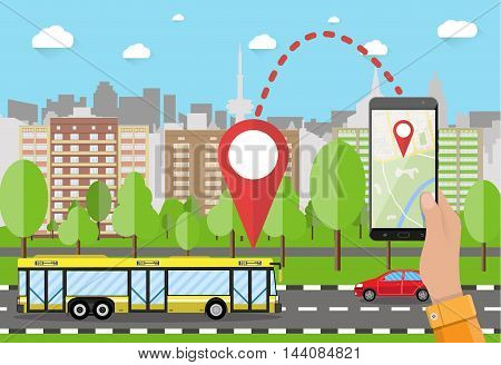 Hand holds smartphone or tablet pc with navigation app against cityscape in day. Navigation concept. Flat design. Vector illustration.