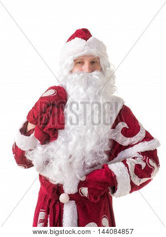 Russian Santa Claus or Santa Claus on a white background with a bag of gifts