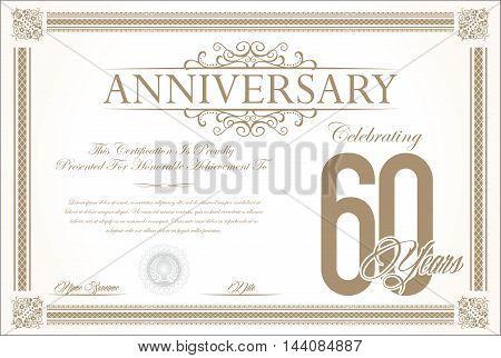 Anniversary retro vintage background vector 60 years
