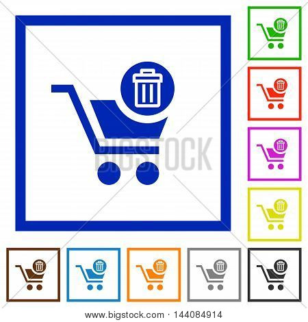 Set of color square framed delete from cart flat icons