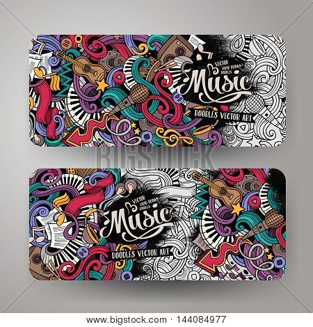 Cartoon colorful vector hand drawn doodles music corporate identity.2 orizontal banners design. Templates set