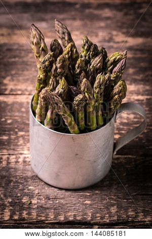 Fresh Asparagus On Wooden Table , Diet Concept