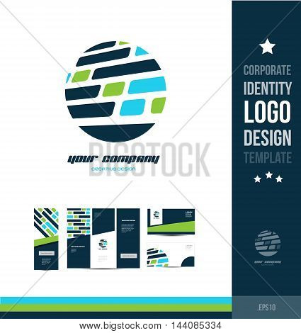Corporate identity blue green logo circle grid design icon vector company element template