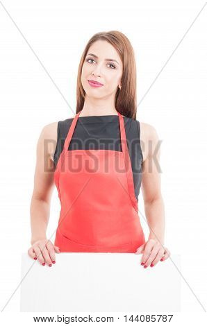 Attractive Supermarket Employee With Empty Card