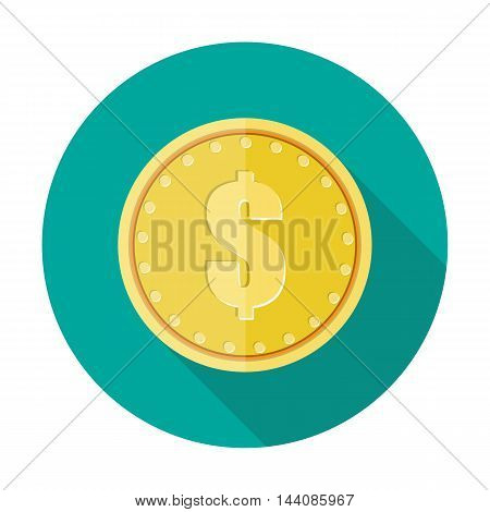 Gold coin icon with dollar currency symbol. vector illustration in flat style