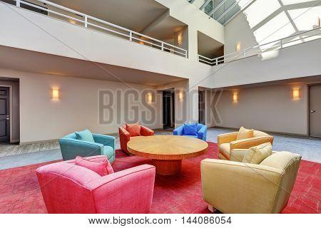 Lounge, Common Area Of Apartment Building. Interior Design.