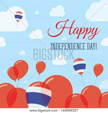 Thailand Independence Day Flat Patriotic Design. Thai Flag Balloons. Happy National Day Vector Card.