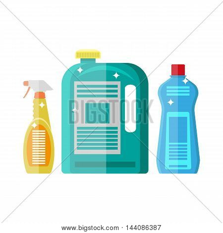Household chemistry cleaning. plastic bottles, household cleaning container design. vector illustration in flat style isolated on white
