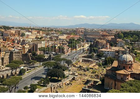 Scenic view over the ruins of the Roman Forum in Rome Italy.