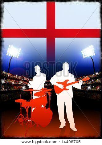 England Live Music Band on Stadium Concert Background with Flag Original Illustration