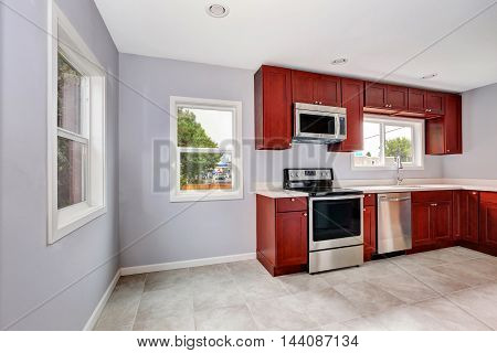 Interior Of Lavender Kitchen With Burgundy Cabinets