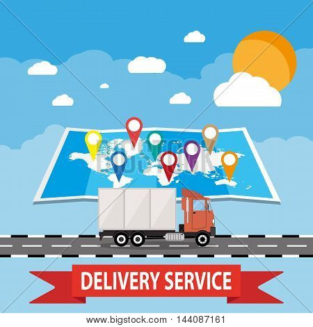 Transportations and logistics. truck on blue background with world map, sun, clouds. vector illustration in flat style