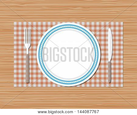 Knife, fork and empty plate on red checked cloth on wooden desk. vector illustration in flat style