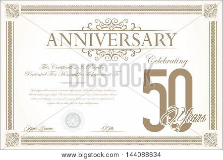 Anniversary retro vintage background vector 50 years