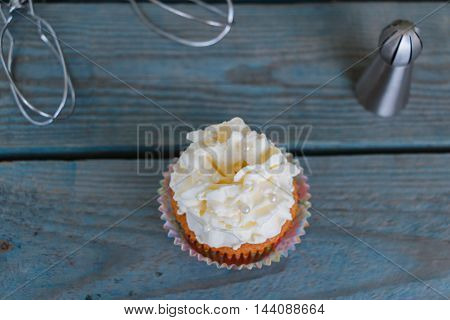 Cupcake with cream - view from above