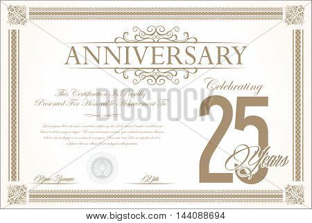 Anniversary retro vintage background vector 25 years