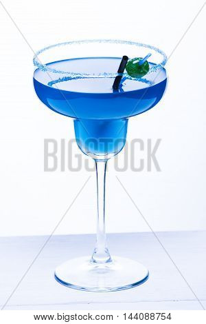 Cocktail Blue Lagoon On A White Background