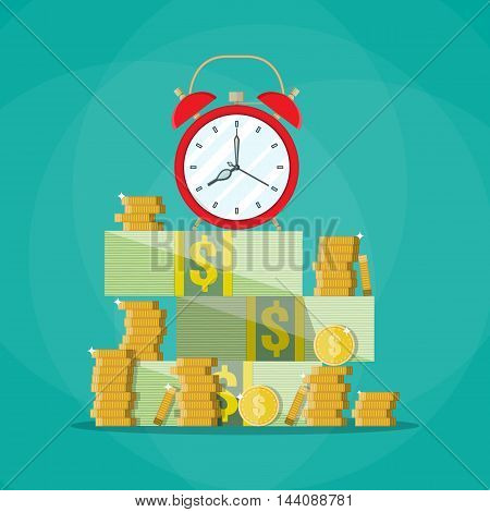 Red alarm clock in a pile of stacked dollar bills and coin. Time is money concept. vector illustration in flat style on green background