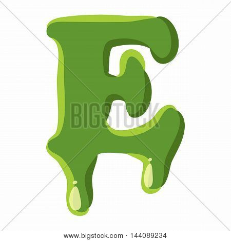 Letter E from latin alphabet with numbers and symbols made of green slime. Font can be used for Halloween design and other purposes