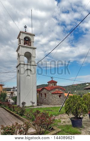 Church and bell tower in Ammouliani island, Athos, Chalkidiki, Central Macedonia, Greece