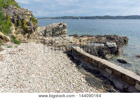 Seascape wiht Rocks and small beach in Ammouliani island, Athos, Chalkidiki, Central Macedonia, Greece