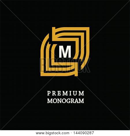 Modern template monogram, emblem, logo. Symbol of stripes and arrows symbolizing the development, cyclicity, stability.