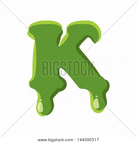 Letter K from latin alphabet with numbers and symbols made of green slime. Font can be used for Halloween design and other purposes