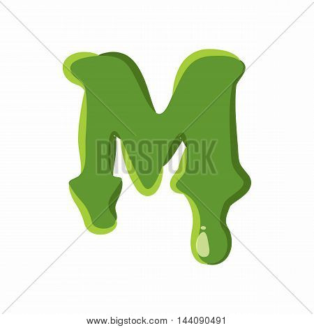 Letter M from latin alphabet with numbers and symbols made of green slime. Font can be used for Halloween design and other purposes
