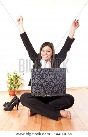 Businesswoman Celebrating