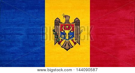 Illustration of the flag of Moldova with a grunge texture